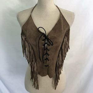 FRINGE Leather Lace Up Halter Open Back Boho Biker